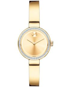 Movado Women's Swiss Bold Diamond (1/5 ct. t.w.) Gold Ion-Plated Stainless Steel Bangle Bracelet Watch 25mm 3600322
