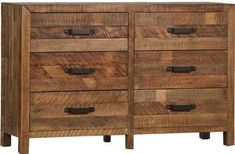 Dresser Chest of Drawers DAWSON Country Farmhouse Sealed Natural Wood Re DT-1508