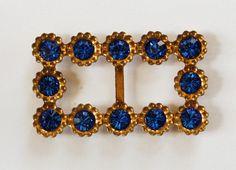 VINTAGE SAPPHIRE BLUE GOLD RHINESTONE BELT BUCKLE SWAROVSKI ELEMENTS