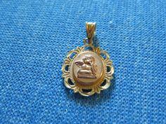 14K Yellow/Rose Gold Michael Anthony Cherub Guardian Angel Prayer Charm Pendant #MichaelAnthony #AngelCharm