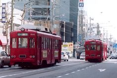 Trams in the city of Gifu, Japan.