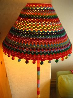 Lamp and shade Yarn bomb ~free how to from Lucy at attic 24 :0)