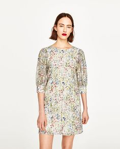 Image 6 of STRIPED FLORAL PRINT DRESS from Zara