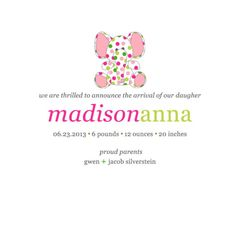 Birth Announcement for A Baby Girl by PerfectedbyGrace on Etsy