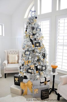 Gold, Black and White Modern Holiday Christmas Tree by http://KarasPartyIdeas.com f
