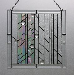 clear/iridescent stained glass hangings