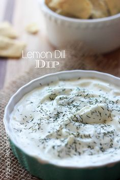 This refreshing Lemon Dill Dip is yummy with veggies or chips. I love dipping pita chips when I make this.