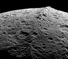 A mountain range on Iapetus, via NASA/JPL/Space Science Institute