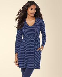 Soma Intimates Soft Jersey Shirred Hooded Tunic Sparkle Stripe Medievel #somaintimates My Soma Wishlist Sweeps