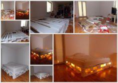 Interieurideeën   Een bed gemaakt van pallets. Door Claudimakes