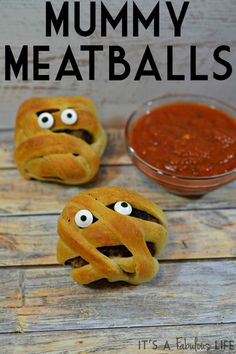 Mummy Meatballs: Fun Halloween Idea.  These were super easy to make and the kids…