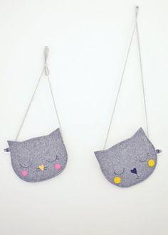 Cat Bag, Mini Grey childrens bag, kids bag, kids purse, animal bag, handmade, girl bag, grey, yellow, black heart: