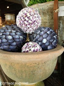 Decorative balls covered in seashells