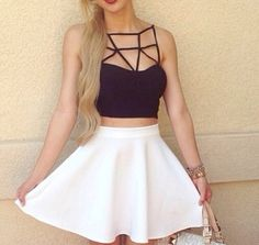 top cut out top geometric cut out top black cut out top black geometric top shirt tank top black and white black cutout skirt white skirt black girly tumblr outfit