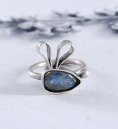 FUNNNY BUNNY  silver ring  labradorite  gift  by OYRZANOWSKA