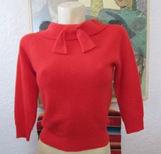 1950's Sweater Girl lollypop Red Angora sweater VLV by wearitagain