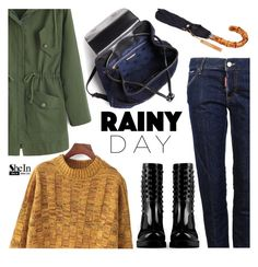 """Rainy Day Style"" by mada-malureanu ❤ liked on Polyvore featuring Dsquared2, Valentino, Tory Burch, vintage, Sheinside, rainydaystyle and shein"