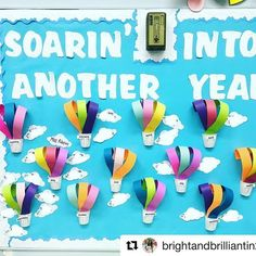 Check out this birthday display by @brightandbrilliantin2nd! I love the fact that she put student names on the clouds. This makes it super easy to reuse the following school year!#repost