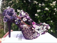 Purple Rhinestone with Crystal peacock wedding shoes party heels