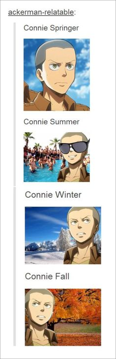 Attack on Titan ~~ I love Connie! He's a man for all seasons!