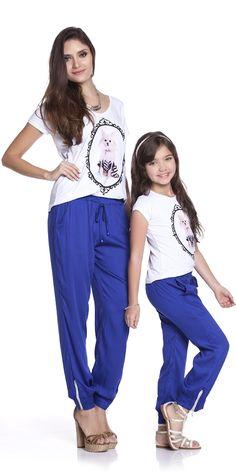 Calça Pijama Azul Adulto   OLIVIAS MODA FEMININA   Olivias