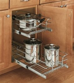 Pull-out drawers for pots, pans, and bulky appliances