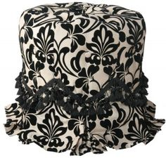 A bold black and white floral pattern is accented with tasseled trim on this marvelous Yorke Vanity Ottoman. Caramel and black flocked silk dupioni floral fabric upholstery. Style # at Lamps Plus. Jennifer Taylor, Modern Victorian, Vanity Stool, Living Room Seating, My New Room, Joss And Main, Paisley Print, Pleated Skirt, Glamour