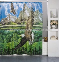 100 % Polyester fabric Shower Curtains, Eagle World digital photo printing bathroom curtains