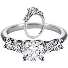 Five Stone Round Diamond Trellis Engagement Ring