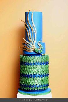 Peacock cake. @grace_ormande @wedding_style
