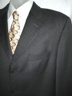 Mens PRINCIPE Wool Blazer Suit Jacket Sport Coat Dark Gray Guabello Italy 44 46 #Principe #ThreeButton