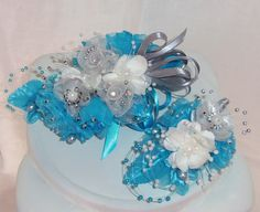 Made to Order- 2 Piece Set- Blue, Silver,Wrist Corsage, Boutonniere,Homecoming, Prom, Wedding on Etsy, $43.00