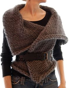 Knit 1 LA: Magnum Reversible Vest/Wrap. Made this in a two tone deep sapphire/charcoal mix. Fun to wear.