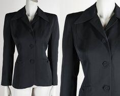 Vintage 40s Blazer / 1940s Minimalist Black Wool Gabardine Suit Jacket M by FloriaVintage on Etsy
