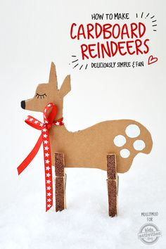 Christmas crafts for kids don't come much cuter than this simple cardboard and clothes peg reindeer.  Make all of Santa's reindeer!