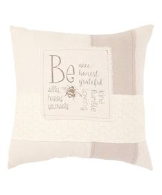 Look what I found on #zulily! 'Be Nice' Stripe Square Pillow #zulilyfinds