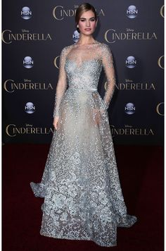 Lily James wears Elie Saab.