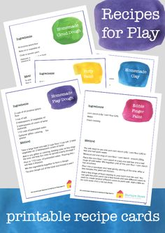 sensory play recipes printable cards :: recipes for play :: sensory activities :: play dough recipe :: cloud dough recipe