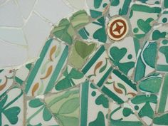 Gaudi Mosaic at Park Guell, Barcelona, love the colours!