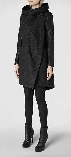 Womens Leopard Maze Parka Jacket (Black)