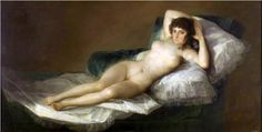Nude Maja (1797-1800) by Francisco Goya Style: Romanticism Genre: nude painting (nu) Technique: oil Material: canvas Dimensions: 98 x 191 cm Gallery: Museo del Prado, Madrid, Spain