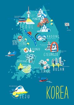… - L Jónsson - - Korea, illustrierte Karten. Korea Map, South Korea Travel, Photo Vintage, Budget Planer, Country Maps, Travel Illustration, London Illustration, Thinking Day, World Maps