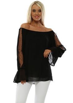 Stylish lace off the shoulder black bardot tops available now at Designer Desirables and enjoy free UK standard delivery on all UK orders Womens Black Lace Top, Black Lace Tops, Black Bardot Top, Going Out Tops, Pretty Black, Lace Sleeves, Off The Shoulder, White Jeans, Bell Sleeve Top