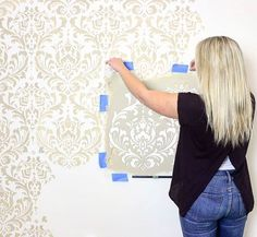 Gorgeous statement wall our using our Ana Damask Stencil | Better than wall decals and wallpaper | DIY stenciled wall ideas on a budget using Cutting Edge Stencils