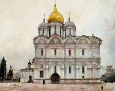 Cathedral Of The Archangel by Greg Collins - A watercolor painting of the beautiful Cathedral of the Archangel in the Kremlin, Moscow with its golden dome and spires.