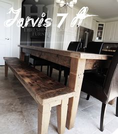 Gray Reclaimed Harvest Table Wood Tables, Reclaimed Wood Furniture, Furniture Making, Dining Bench, Harvest, Kitchens, Floor Plans, Layout, Flooring