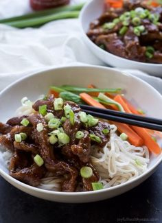 Forget the take out, make this healthy low calorie Honey Sriracha Mongolian Beef Recipe with Rice Noodles. It's sweet, spicy, and perfect for a fast weeknight meal!