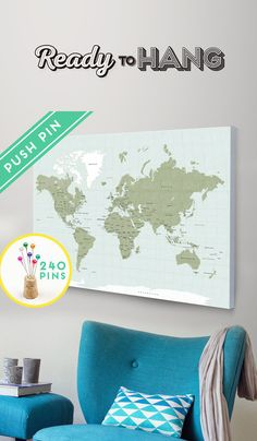 Valentines Day Gift  Push Pin World Map CANVAS Choose by Macanaz
