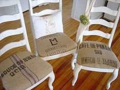 Vintage looking burlap bags used to reupholster dining room chairs. Burlap Projects, Burlap Crafts, Diy Projects, Diy Crafts, Burlap Coffee Bags, Coffee Sacks, Burlap Chair, Burlap Sacks, Burlap Curtains