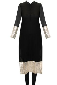 Black gota kurta set with off-white embroidered dupatta available only at Pernia's Pop-Up Shop.
